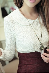 skirt,clothes,jewels,shirt,t-shirt,lace,white lace,white,white t-shirt,girly,cute,vintage,fashion,top,lace peter pan collar long sleeve top,blouse,collar,lace top,classy,white collared top,swirls,white top,peter pan collar,white peter pan collar,white lace top,long sleeves,white lace look,dress