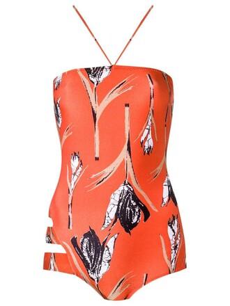 women spandex yellow orange swimwear