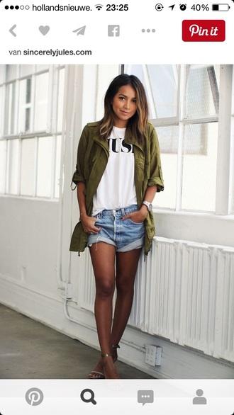 t-shirt fashion style outfit girl shirts shirt jacket shorts