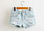 shorts,light blue,acid wash,ripped jeans,ripped shorts,ripped,denim,cute