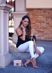 jessica r.,hapa time - a california fashion blog by jessica,blogger,jewels,top,bag,shoes,high heel pumps,pumps,off the shoulder top,pink bag,white pants