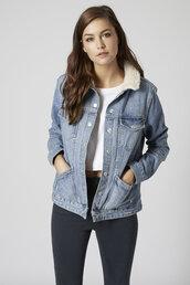 jacket,denim jacket,shearling denim jacket