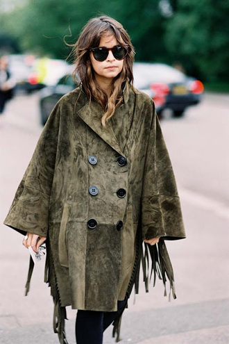 vanessa jackman blogger coat winter coat fall outfits fringes olive green oversized coat