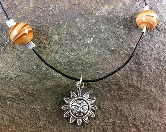 Sun charm choker necklace