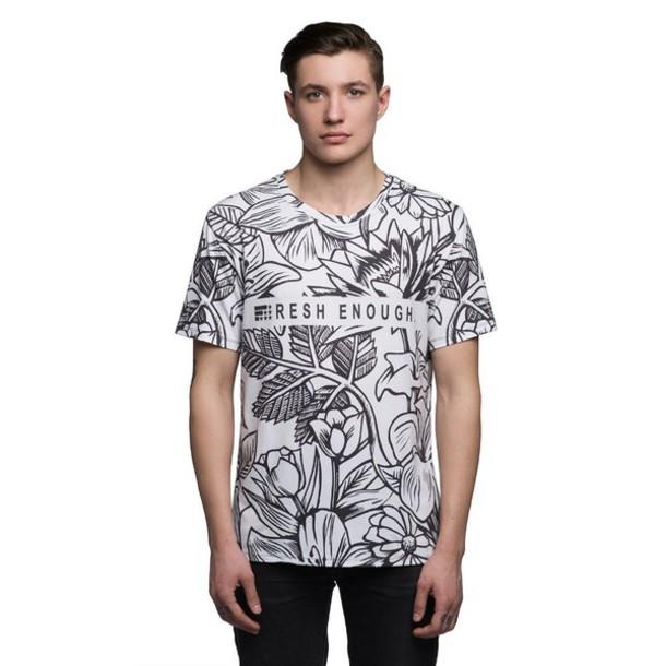 T shirt t shirt menswear printed t shirt floral for Get t shirt printed