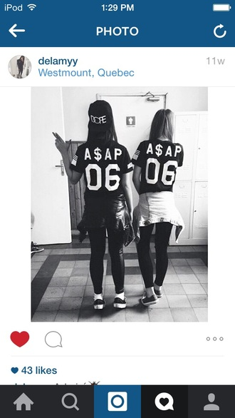 shirt black and white shirt asap squad shirts