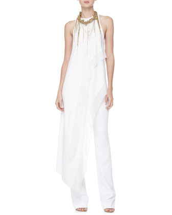 Donna Karan Asymmetric Tunic Top, Boot-Cut Pull-On Pants & Chain-Fringe Necklace - Neiman Marcus