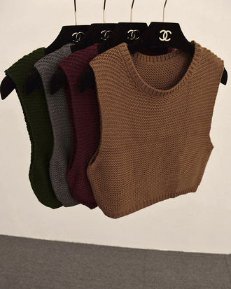 vest top shirt sweater sleeveless knitwear knitted crop top fall colors fall sweater knitted sweater chanel top blouse knit sweater crop top burgundy beige crochet