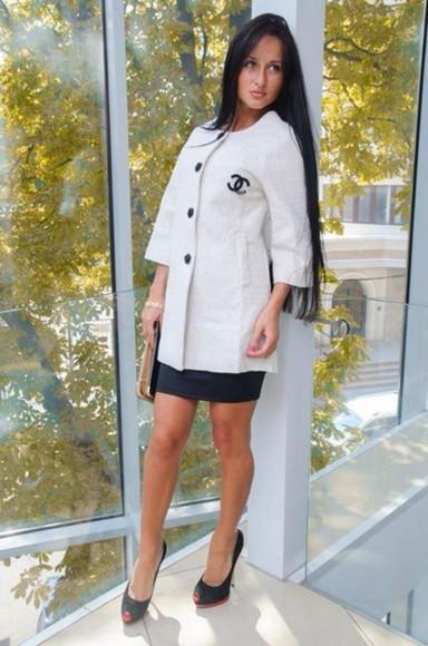 chanel coat white dress
