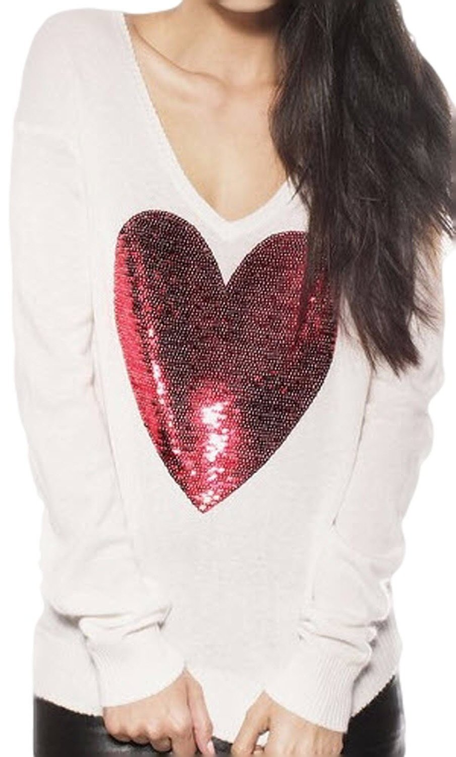 Skcute heart classic style knitting sweater white at amazon women's clothing store: