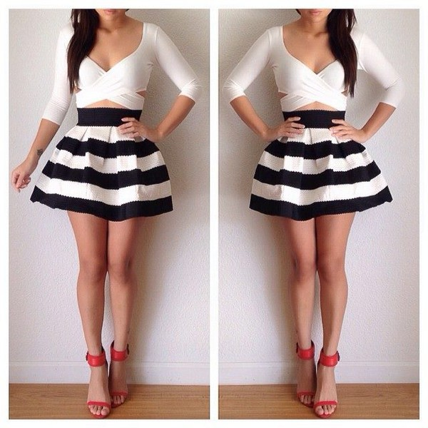 shirt crop tops top cute cool skirt black and white dress black and white stripped shorts striped dress bubbled pick up dress bubble skirt