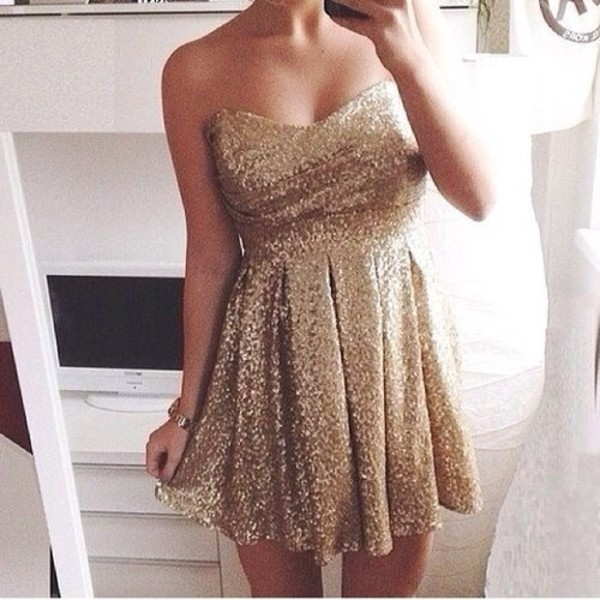 dress gold dress sequin dress