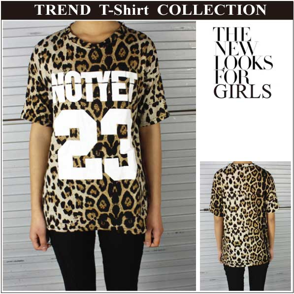 luckygirl | Rakuten Global Market: ★ NOTYET 23 logo Leopard pattern トレンドト T Shirt Unisex hip hop dance costume bloggers ★
