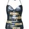Moschino - printed halter neck swimsuit - women - polyester/spandex/elastane - 46, black, polyester/spandex/elastane