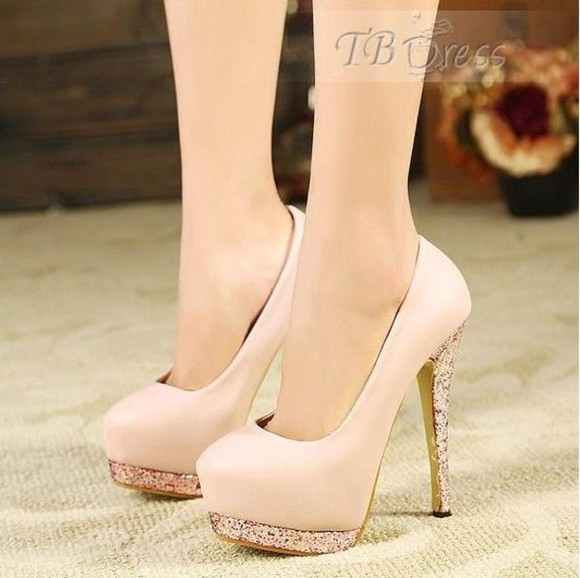 shoes pink pale pink light pink blush glitter platform pumps high heels