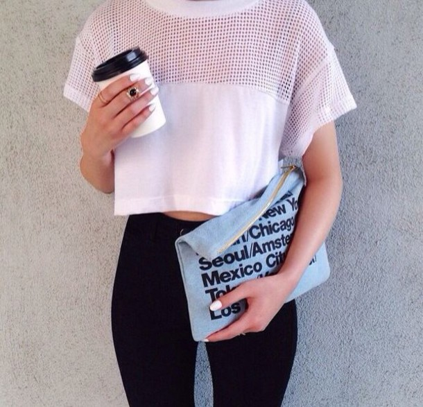 shirt crop tops black and white casual black high waisted pants clutch bag