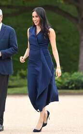 dress,midi dress,asymmetrical,asymmetrical dress,meghan markle,pumps,celebrity