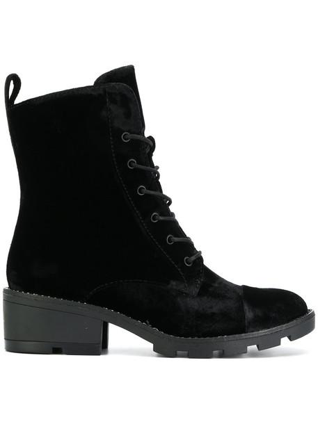 women combat boots leather black velvet shoes