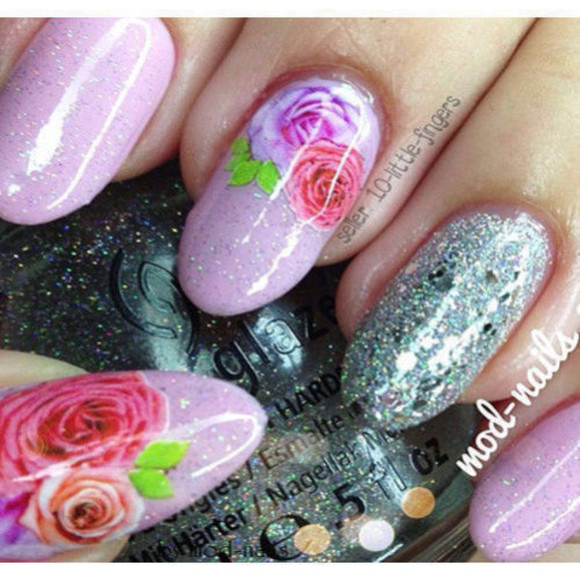 nail polish glitter silver stylish nail accessories manicure pedicure diy roses elegant nail art Nails floral purple