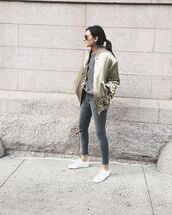 jacket,grey ripped jeans,black aviators,aviator sunglasses,grey t-shirt,skinny jeans,ripped skinny jeans,white sneakers,grey jeans,grey skinny jeans,satin bomber,bomber jacket,oversized bomber jacket,metallic bomber,metallic bomber jacket