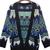 Blue Contrast Black Trim Geometric Tribal Cardigan Sweater - Sheinside.com