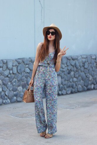 jumpsuit cream fedora hat floral jumpsuit sandals nude sandals bag nude bag fedora summer outfits office outfits sunglasses
