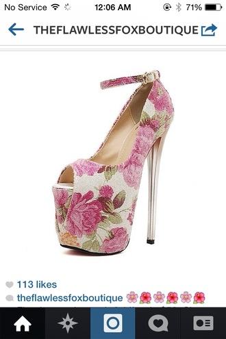 shoes floral pumps peep toe pumps