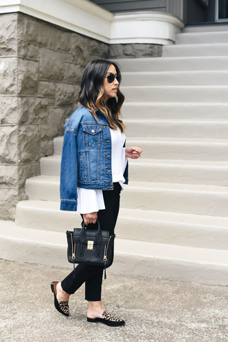 crystalin marie blogger sweater pants shoes white top tumblr mules loafers denim jeans black jeans jacket denim jacket blue jacket top bag handbag sunglasses