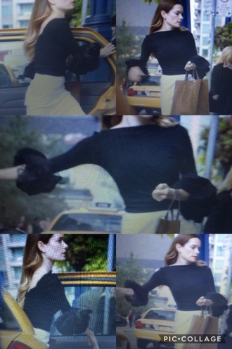 shirt gina holden suits tv show bottom sleeves sleeves black