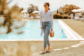 the mysterious girl,blogger,shirt,jeans,shoes,cult gaia bag,summer outfits