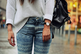 pants aztec sweater printed jeans light blue jeans blue cute