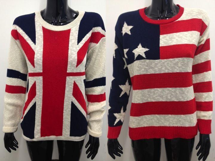 New Ladies Long Sleeve USA Knitted American UK Flag Womens Jumper Top 8 10 12 | eBay