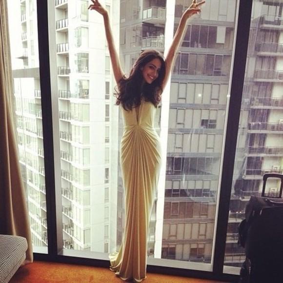 gown celebrity style gorgeous gold dress beige lowcut vcut wherecaniget dress evening dress maxi dress prom dress