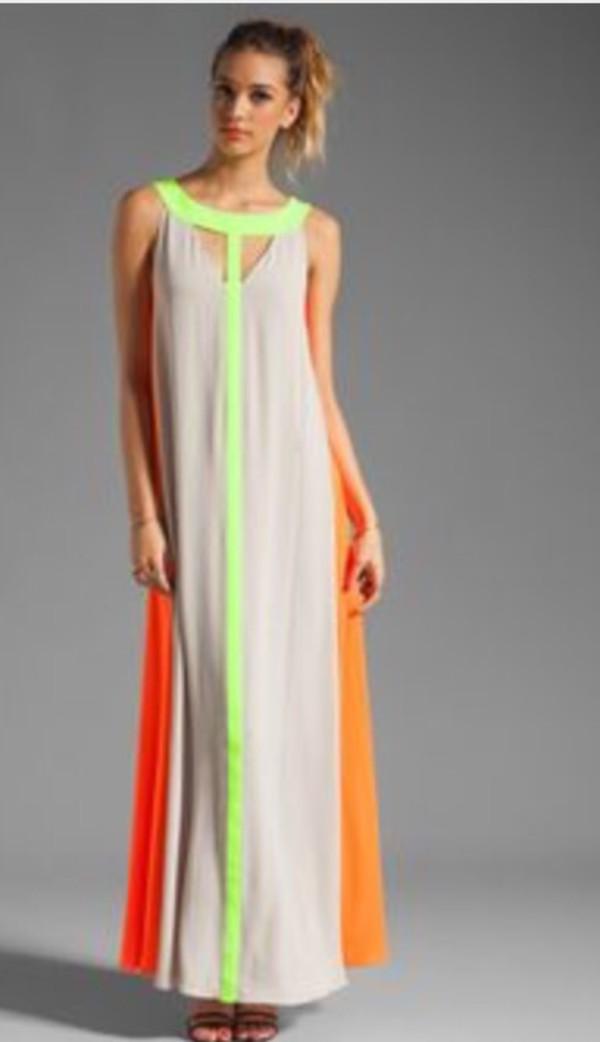 Dress: bcbgmaxazria, bcbg wilah color-blocked cutout maxi dress ...