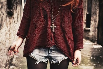 sweater shirt holes knitwear grunge hipster distressed sweater burgundy jumper shorts denim black tights cross necklace oversized sweater holey sweater jewels indie clothes