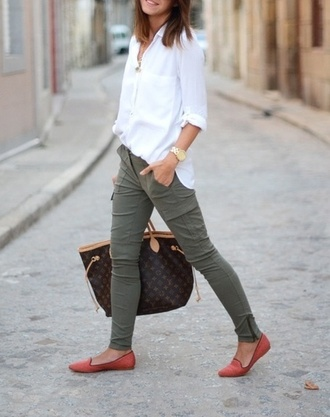 pants shoes coral urgent shopping green cargo white shirt green cargo pants