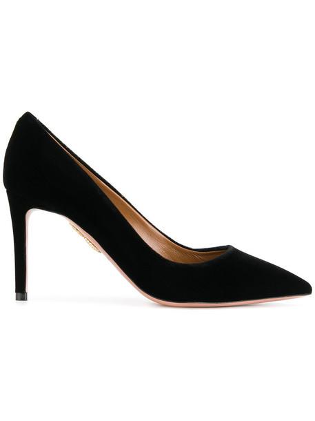 Aquazzura women pumps leather black velvet shoes
