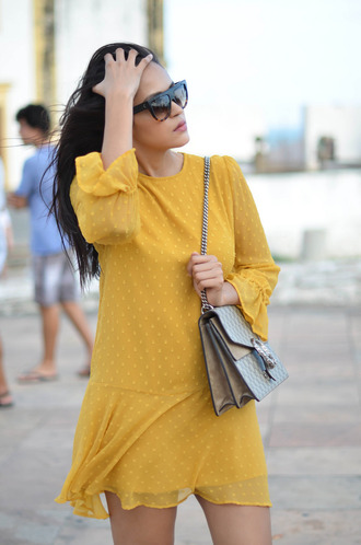 dress tumblr yellow yellow dress long sleeves long sleeve dress spring dress polka dots bag grey bag gucci gucci bag dionysus chain bag mini dress sunglasses bell sleeves