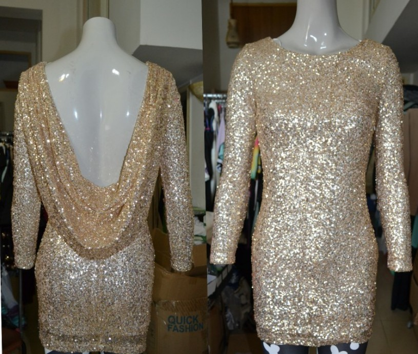 Fashion gold sequined dress sexy backless bodycon. party dress from fe clothing on storenvy