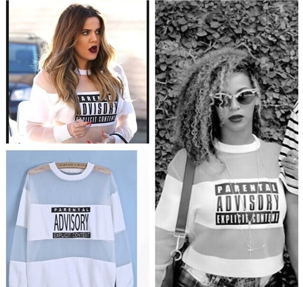 shirt rihanna kardashians black white parental advisory explicit content parental advisory explicit content