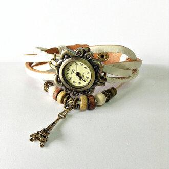 jewels charm bracelet leather watch watch vintage fashion accessories style paris paris watch white