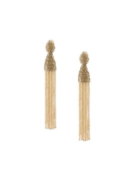 oscar de la renta tassel women earrings grey metallic jewels