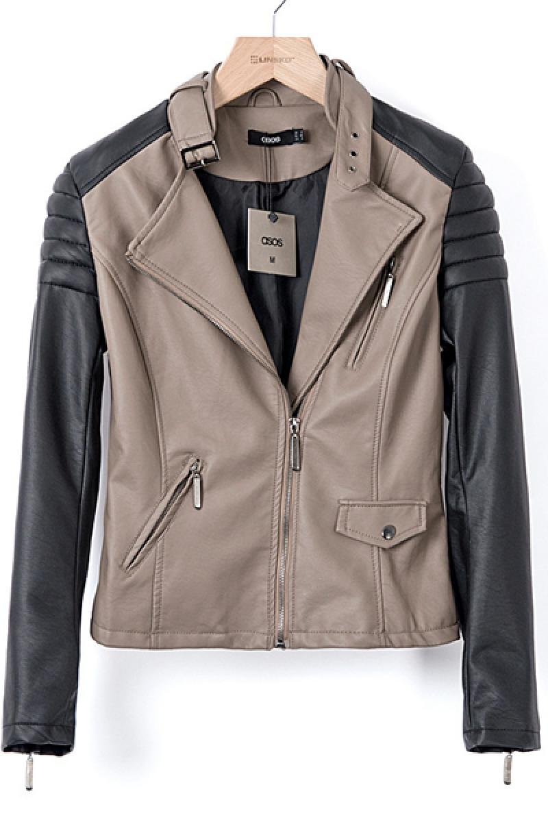 2013 Autumn & Winter New Section Contrast Color PU Short Biker Jacket,Cheap in Wendybox.com