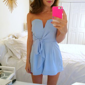 dress,bodysuit,light,blue,romper,jumpsuit,baby blue,strapless,bow,bows,light blue,purple dress,summer dress,summer romper,phone cover,light blue strapless,blue romper,periwinkle prom dress 2016,blue dress,summer