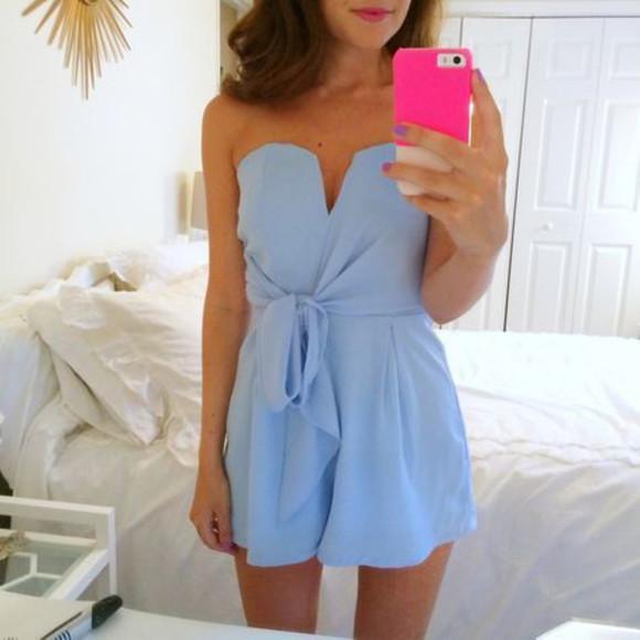 blue romper bows dress body suit light