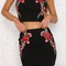 Black embroidered two piece rose set on storenvy