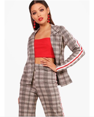 jacket suit plaid two-piece two piece pantsuits pants red brown set winter jacket track pants crop tops crop cropped cropped jacket earrings lipstick