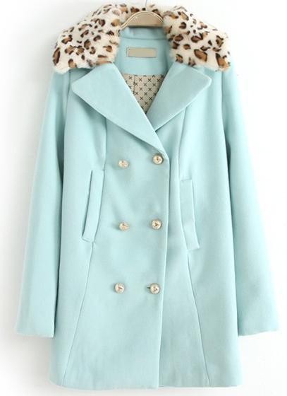 Abrigo combinado solapa leopardo doble botonadura-Azul