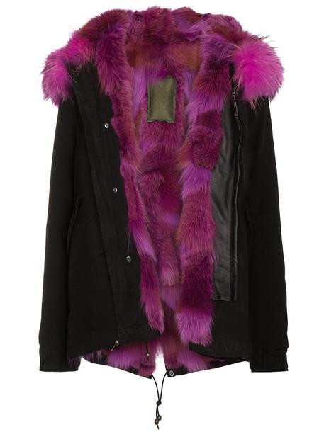 Mr & Mrs Italy jacket mini fur fox women leather cotton black
