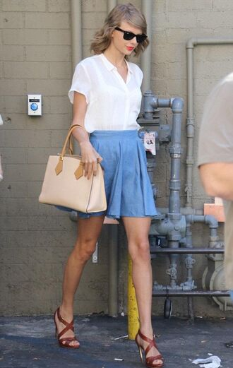 skirt sandals shirt blouse sunglasses taylor swift summer outfits bag